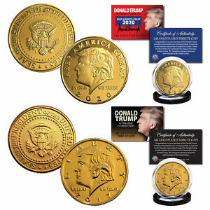 2017 and 2020 Donald Trump 45th President 24K Gold Clad Tribute Coins - Set of 2