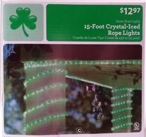 party lights GREEN CRYSTAL-ICED ROPE LIGHTS Christmas Indoor//Outdoor 15 FEET