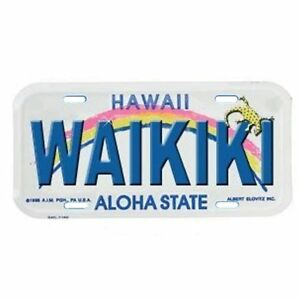 Hawaiian-034-Waikiki-034-Novelty-Metal-Full-Size-Car-License-Plate-from-Hawaii