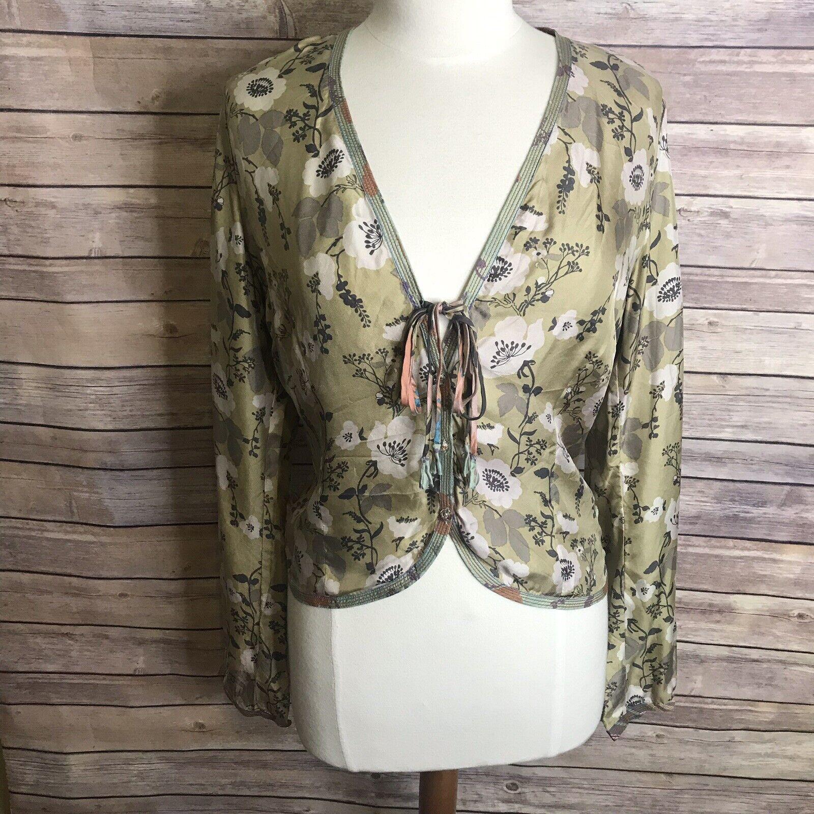 Johnny Was Sz S 100% Silk Cardigan Tie Front Button Down Grün Floral Print