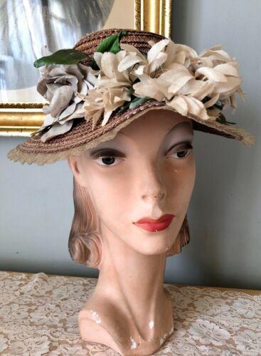 VINTAGE 1940's OPEN CROWN STRAW HAT W/ FLOWERS