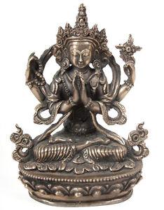A Tibetan Bronze Figure Of Sadaksari Buddha Tibet 20 Tibétain Tibetano SchöNe Lustre Jh