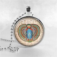 Scarab Pendant Necklace Egyptian Jewelry Handmade Glass Pendant Art Egypt