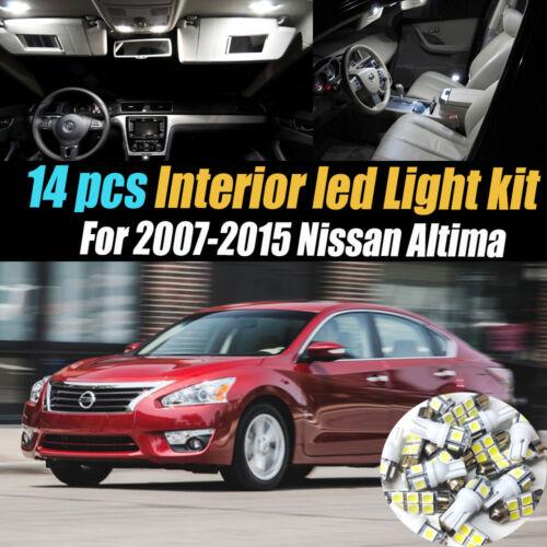14Pc Super White Interior LED Light Bulb Kit Package for 2007-2015 Nissan Altima