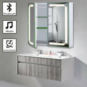 Groß Led Badezimmerschrank Ip44 Spiegelschrank Beleuchtung Steckdose