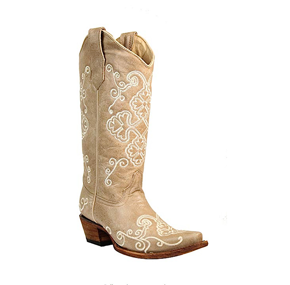 Circle G by Corral Ladies Embroidery Bone Cowhide Leather Cowgirl Boots L5273