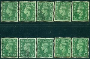 GREAT BRITAIN SG-505, SCOTT # 282, USED, 10 STAMPS, GREAT PRICE!