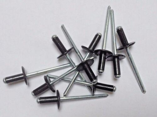 Black Pop Rivets Large Flange 10x 4mmx10mm /& 10 4.8mmx14mm