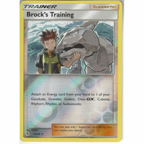 55//68 Brock/'s Training Rare Reverse Holo CardPokemon TCG Hidden Fates