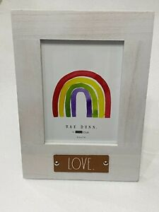 """Rae Dunn Leather Patch """"LOVE."""" Wooden 5 x 7 Picture Photo Frame WHITE (VERTICAL)"""