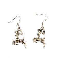 Reindeer dangly drop earrings sterling silver hooks xmas gift 2cm winter