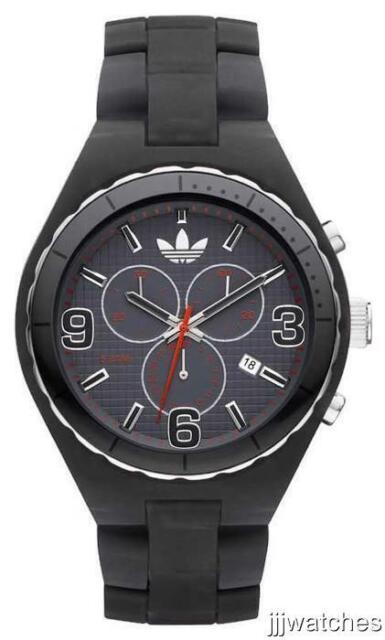 New Adidas Cambridge Chronograph Black Resin Band Date Watch 50mm ADH2569 $95