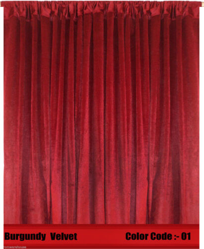 Saaria Velvet Curtain Panel Drape 8/'W x 10/'H Home Theater Curtain Burgundy-01