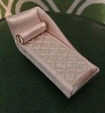 Dollhouse Miniature  Chaise Lounge Pink Satin Vintage