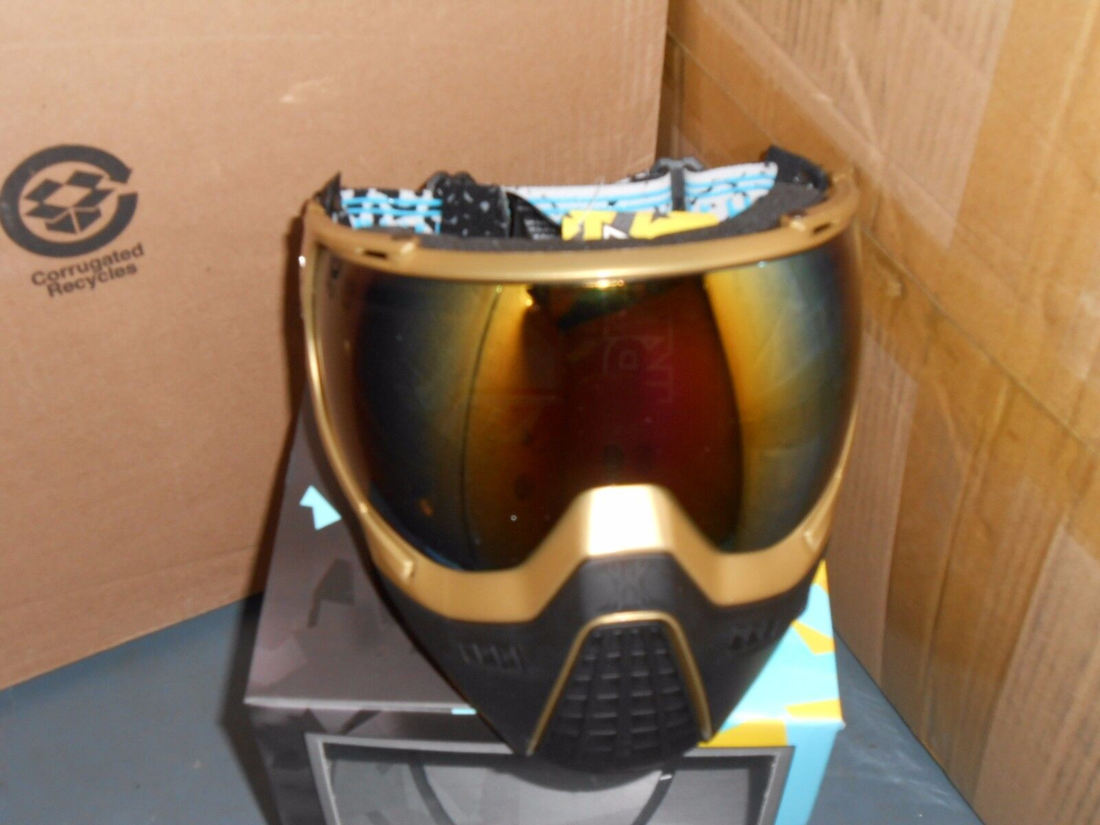 nuovo HK Army KLR Thermal Paintbtutti Goggles Mask  oro w Fusion Lens