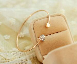 Image Is Loading Women Fashion Style Gold Rhinestone Love Heart Bangle