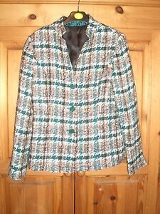 Ladies-Green-amp-Brown-Patterned-Lined-Jacket-Size-Small-About-8