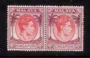 SINGAPORE-1951-USED-PAIR-16a-KING-GEORGE-VI-Perf-18