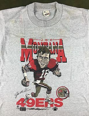 Vintage Mens M 1987 Joe Montana San Francisco 49ers NFL Caricature Gray T-Shirt