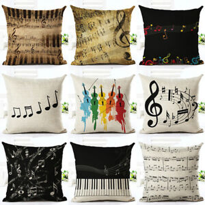 Am-KQ-Retro-Music-Note-Print-Pillow-Case-Art-Home-Office-Decor-Cushion-Cover-S