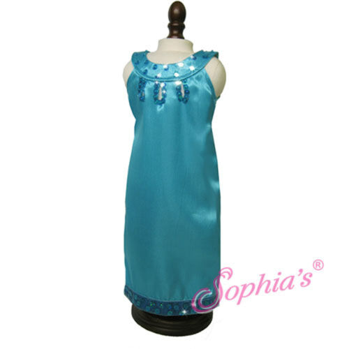 """Sophia/'s TURQOUISE SATIN GOWN W// SEQUIN TRIM for 18/"""" American Girl Dolls NEW"""