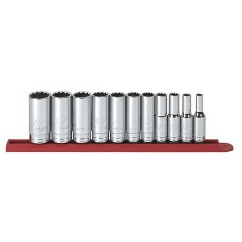 """Gearwrench 80563 11 piece 3//8/"""" Drive 12 point Deep SAE Socket Set"""