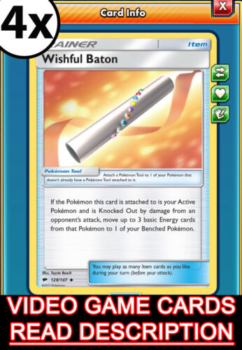 Pokemon TCG Online 4x Wishful Baton Trainer Burning Shadows PTCGO
