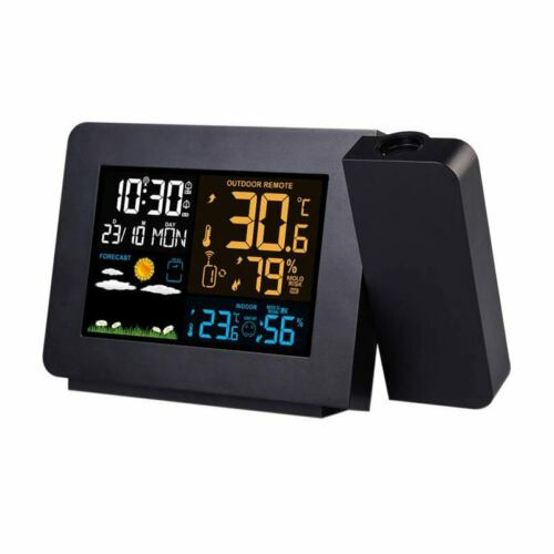 UsL1K7 Wireless Weather Station With Large Lcd Display Projection Alarm Clock