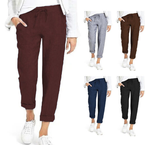 Summer Women Solid Color Tapered Elasticated Waistband Trousers Pants New LO