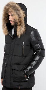 0394ea24d1 Details about MEN'S RUDSAK CALCOT BLACK DOWN FILLED WINTER LEATHER SLEEVES  JACKET*NWT*