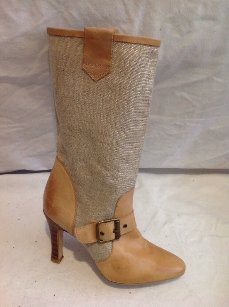 Shellys Brown Mid Calf Leather Boots Size 36