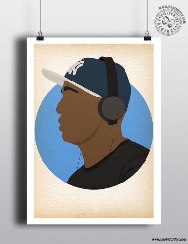 GRANDMASTER FLASH Minimalist Hip Hop Heads Hair Poster Minimal Posteritty Art