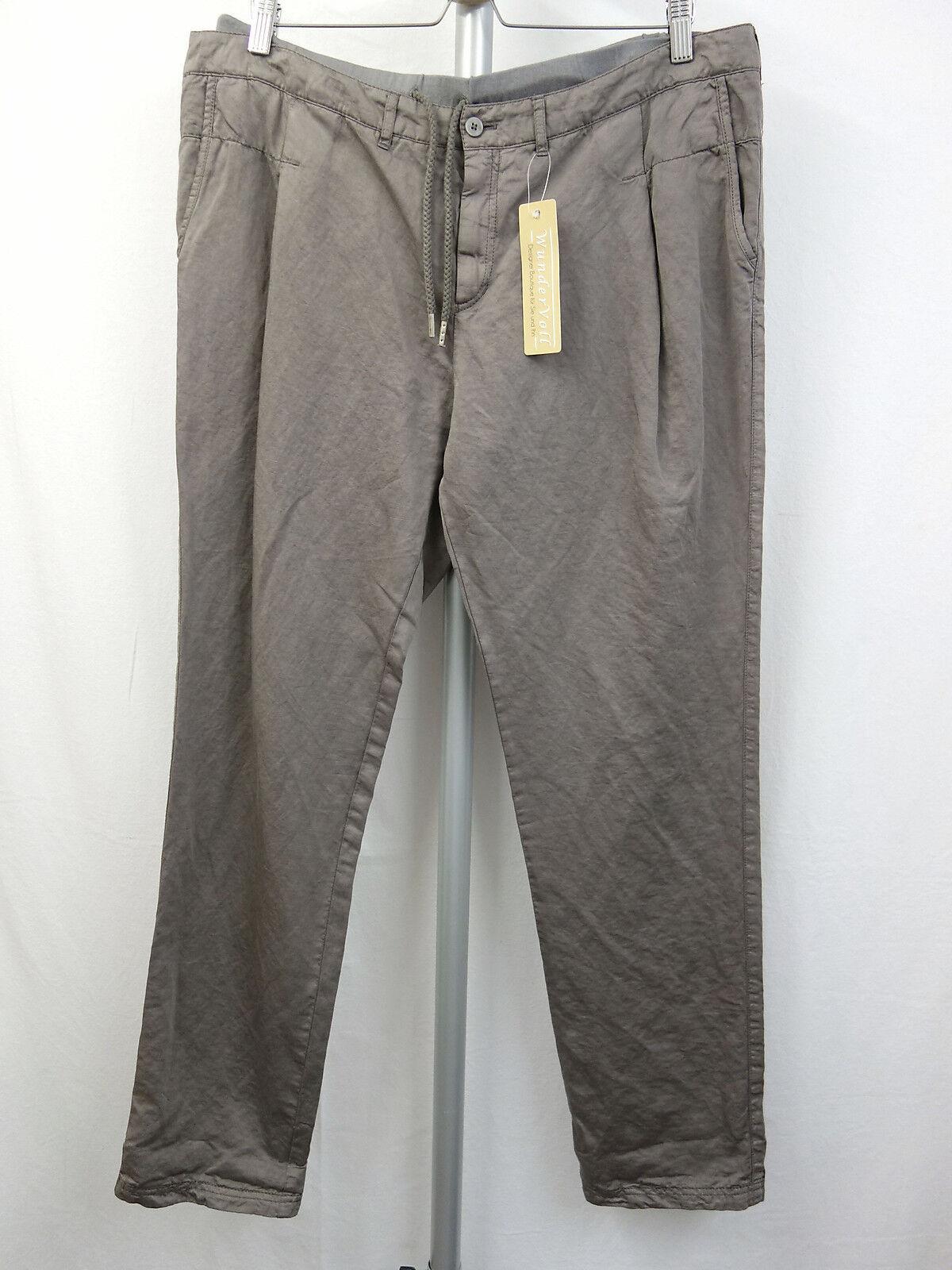 BOSS orange Designer Hose Gr.44 Pants Leinen Baumwolle Sweatshirteinsatz brown