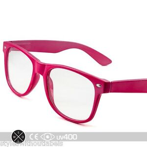 image is loading dark pink frame clear lens vintage style glasses