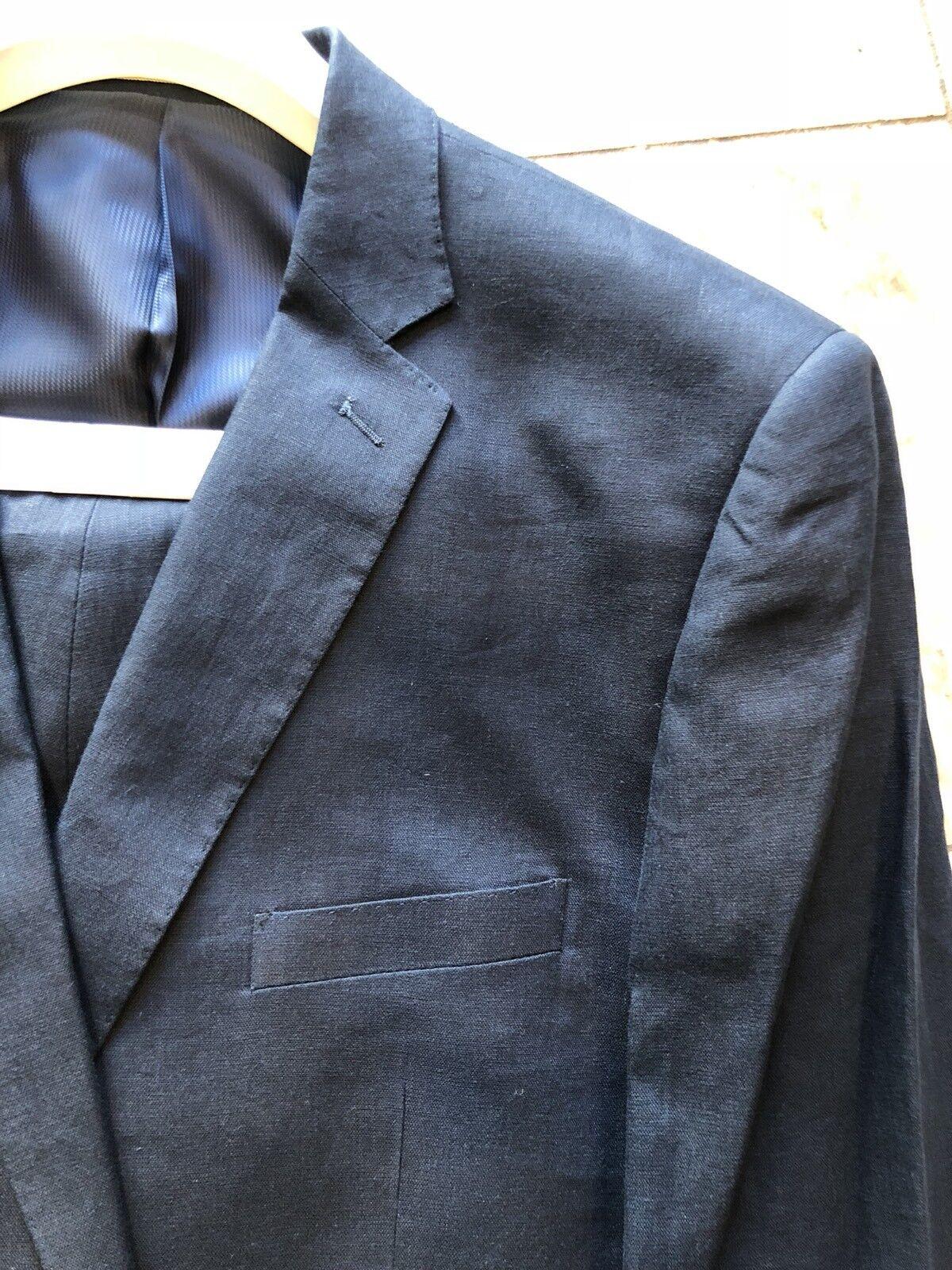 NWT APOLLO KING Classic Fit Men's 100% Linen Suit Lined Navy color 2BT Size 46R