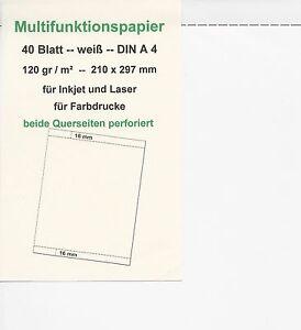 40 Blatt Multifunktions-Papier A 4, 2 x Querseite perforiert, 120 gr weiß, - Emmendingen, Deutschland - 40 Blatt Multifunktions-Papier A 4, 2 x Querseite perforiert, 120 gr weiß, - Emmendingen, Deutschland