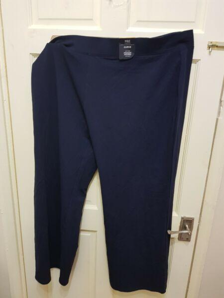 2019 Moda Curvy High Rise Straight Pantaloni Sportivi Corti Taglia Uk 24, Eur 52 Navy Ultima Moda