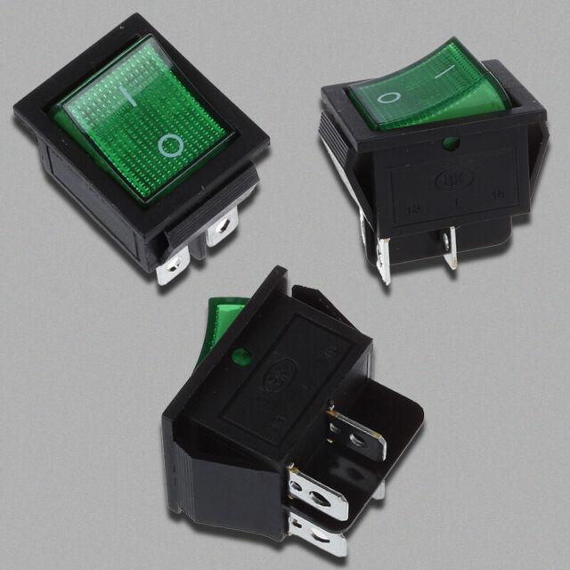 gruen Licht 4 Pin DPST ON/OFF-Snap im Boot Wippschalter 16A/250V 15A/125V AC GY