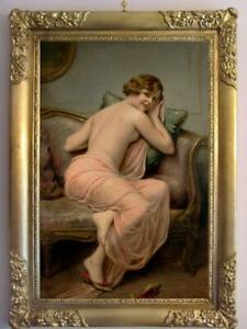 """Old Master-Art Antique Oil Painting Portrait girl noblewoman on canvas 24""""x36"""""""