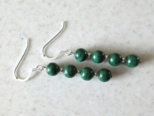 Natural y genuino verde con cuentas pendientes de piedras preciosas de Malaquita con plata esterlina