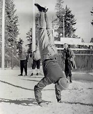1960 AP Wire Photo doing handstand workout Cross Country Skier Pavel Kolchin