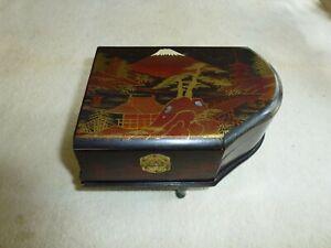 ancienne boite a musique piano decor japonais ebay