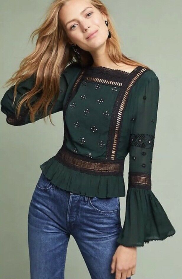 NWT Anthropologie Victoria Bell-Sleeve Blouse  - Größe L