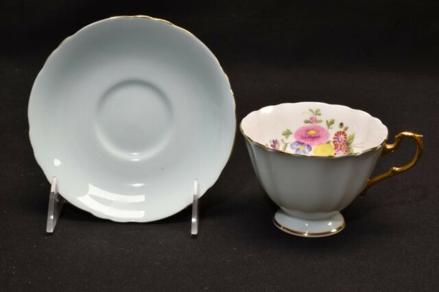 Paragon By Appointment A6415/1 Multi Color Floral Blue Cup & Saucer