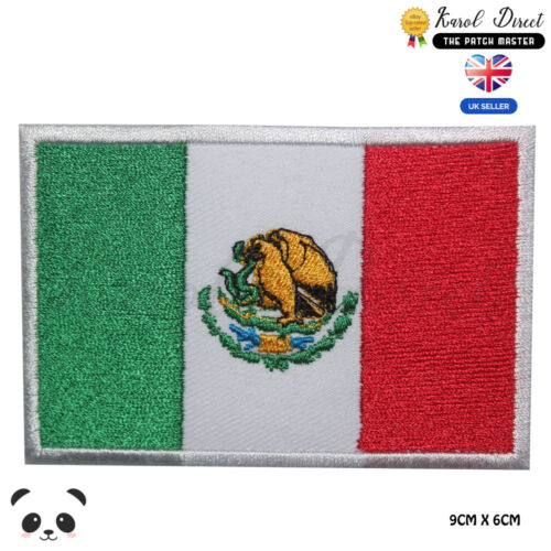 Mexico National Flag Embroidered Iron On Sew On PatchBadge For Clothes etc