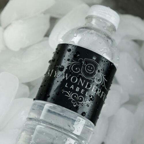 "100 Slate Grey Monogram Wedding Water Bottle Labels Engagement Bridal 8/""x2/"""