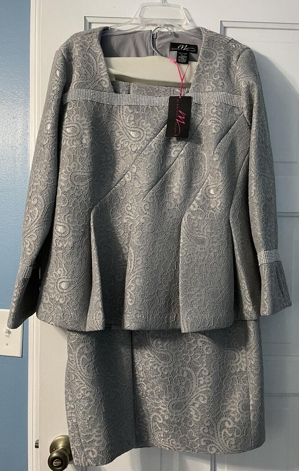 Midnight Velvet Elegant Jacket Dress W/ Skirt. Mother of the Bride Holiday Sz 16
