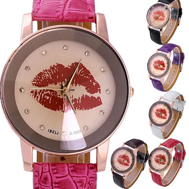 IBELI Womens Girl's Champagne Analog Red Lips Print Quartz Wrist Watch