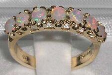 Damen Ring solide 375 Gelbgold Vintage-Stil Ewigkeit Band Opal