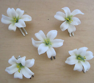Details about 5 piece lot small 2 cream white lily silk flower hair clipweddingdance prom image is loading 5 piece lot small 2 034 cream white mightylinksfo